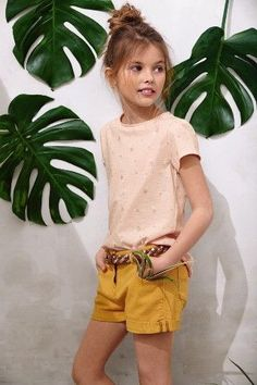 KIDS style | yellow shorts and peach tshirt                                                                                                                                                      Plus