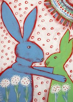 Bunnies 7x5 inch Acrylic painting, outsider art, naive, folk | Art, Paintings | eBay!
