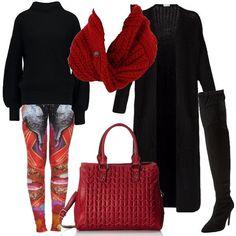 Leggings a fantasia multicolore abbinati al maglione nero ed al cardigan lungo. Anche gli stivali sopra al ginocchio sono neri mentre un tocco di rosso è dato dalla sciarpa e dalla borsa .
