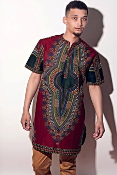 Dashiki at it's best African Dresses For Kids, African Wear, African Attire, African Inspired Fashion, African Print Fashion, Fashion Prints, African Dashiki, Designer Suits For Men, African Shirts