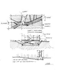 - ARCHDEKK Khoa Vu - Double Negative Concept Architecture Career, Concept Models Architecture, Architecture Concept Diagram, Architecture Drawings, Architecture Design, Architect Sketchbook, Architectural Section, Architectural Sketches, Conceptual Sketches