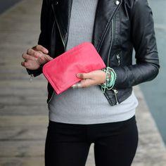 VINTAGE 60s LEATHER PURSE Wallet Real Genuine Pink by ULITA