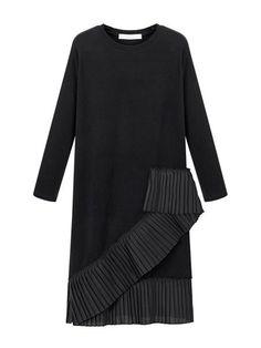 Plain Asymmetrical Elegant Round Neck Plus Size Midi Dress #ClothingOnline #PlusSizeWomensClothing #CheapClothing #FashionClothing #womenswear #sexydress #womensdress #womenfashioncasual #womensfashionforwork  #fashion #womensfashionwinter