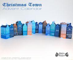 Calendrier de L'Avent Amsterdam Bleu à imprimer - Papier Bonbon Paper Toy, Belle Villa, Advent Calendar, Amsterdam, Printables, Shop, Candy, Upper House, Christmas Night
