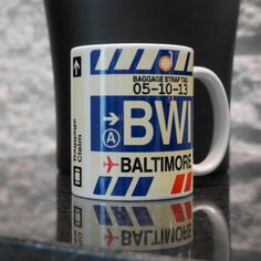BDA Bermuda Coffee Mug • Airport Code & Vintage Baggage Tag Design