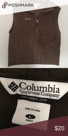 Columbia Men's fleece vest SZ Large Nice Columbia men's fleece vest Size Large in Brown Has 2 zip pockets in front and Columbia logo Very Good used condition Columbia Jackets & Coats Vests