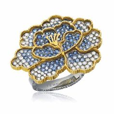 Yewn | cloisonne series | 18K platinum and gold,  diamonds, pink and blue sapphires | peony shaped ring