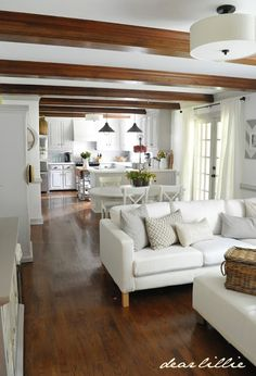 I am IN LOVE with this kitchen and family room Dear Lillie: Our Kitchen Makeover on a Budget (Phase Open Kitchen And Living Room, Home Living Room, Living Room Designs, Living Room Decor, Dining Room, Rectangular Living Rooms, Home Interior, Interior Design, Home And Deco
