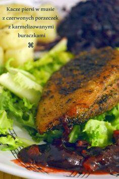Taste me! Eat me!: Kacze piersi w musie z aroganckich czerwonych porz. Tandoori Chicken, Meat, Ethnic Recipes, Food, Essen, Meals, Yemek, Eten