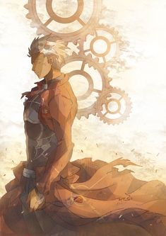 Fate/Stay Night - Archer: K, Big Coat? check. Awesome Lighting? Check. GEARS? check. If I had to be animated as an engineer I want this to be me.