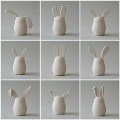 Ceramic bunnies where the ears tell ALL the stories. Wonder, could these be done in salt dough?
