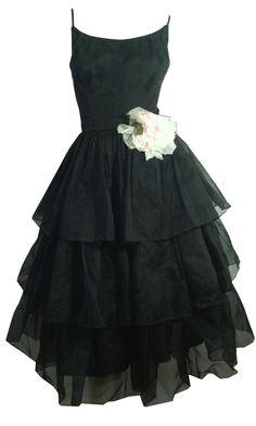Black Organza Ruffled Party Dress w/ Pink Rose circa 1960s Dorothea's Closet Vintage Dress