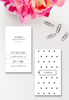 Business Card Template - Photoshop Templates - Polka Dot - Digital Photoshop Design for Millers Lab WHCC & Moo - INSTANT DOWNLOAD by ByStephanieDesign on Etsy