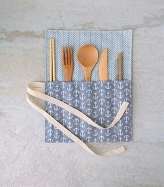 Zero Waste Cutlery Utensils Wrap Reusable wooden bamboo