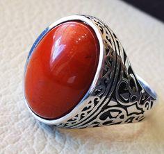 pure red jasper man ring stone natural aqeeq by AbuMariamJewels