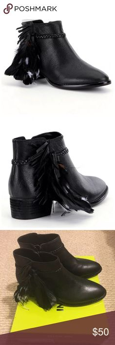 """Gianni Bini, the Rorrie booties From Gianni Bini, the Rorrie booties feature:leather upper with fringe and feather details inside zipper closure synthetic lining leather welt rubber outsole approx. 3.93"""" shaft height; approx. 10.2"""" shaft circumference approx. 1.37"""" stacked block heel Gianni Bini Shoes Ankle Boots & Booties"""