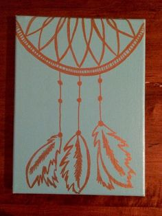 Dream Catcher Canvas, Canvas Painting, Gold Turqouise Dream Catcher Painting, Wall Art, Home Decor by GlassyGurlz on Etsy