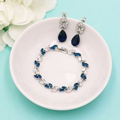 Sapphire Blue Bracelet Set, wedding bracelet, cz bracelet, cubic zirconia bracelet, bridal jewelry, wedding pear cz bracelet 497709680 by AllureWeddingJewelry on Etsy https://www.etsy.com/uk/listing/497709680/sapphire-blue-bracelet-set-wedding