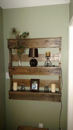 Rustic pallet board shelves