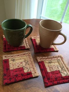 Christmas Red & Beige Quilted Log Cabin Coasters  Moda by seaquilt