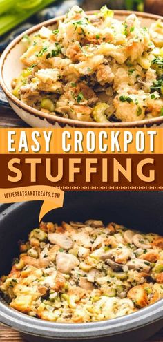 Learn a few tips and tricks with this Crockpot Stuffing Recipe! This Thanksgiving side dish is the BEST to serve to your guests and family. What are you waiting for? Pin this Thanksgiving dinner idea!