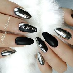 Matte black and silver chrome nail design! Beautiful nails sculpted with Ugly Duckling acrylic and finished with Ugly Duckling gel polish by family member @pahomova_nogti  Ugly Duckling Nails page is dedicated to promoting quality, inspirational nails created by International Nail Arti