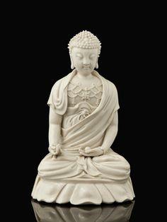 Statuette de Bouddha en porcelaine Blanc de Chine, Chine, dynastie Qing, XVIIe - XVIIIe siècle