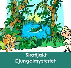 """En riktigt rolig skattjakt för alla små äventyrare!  Skattjakten """"gör"""" barnkalaset och är den enda aktivitet som behövs. Låt  barnen ge sig ut på expedition i djungeln för att hitta Mayaindianernas  glömda stad och dess mytomspunna skatt! Det blir ett riktigt äventyr  fyllt av spännande utmaningar, gåtor som måste lösas och möten med  djungelns vilda djur! Allt som behövs finns i produkten - lägg bara till  en gnutta fantasi!"""