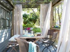 gordijnen in de tuin