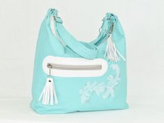 Light Aqua Genuine Lambskin Leather Hobo by BeautifulBagsEtc