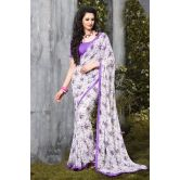 Gleaming Off White Classy Printed Saree