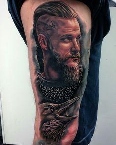 Photo from hannah. Badass Tattoos, Great Tattoos, Unique Tattoos, Body Art Tattoos, Portrait Tattoos, Ragnar Lothbrok, Lagertha, Viking Tattoo Sleeve, Viking Tattoos