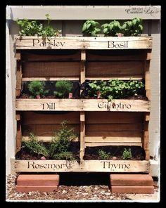 Make your own Vertical Pallet Herb Garden for your patio or porch. Perfect for small garden spaces. Great for condo living.