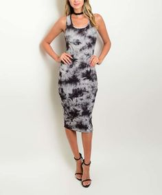 Look what I found on #zulily! Gray & Black Tie-Dye Sleeveless Dress by Shop the Trends #zulilyfinds