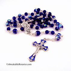 St Anthony w Baby Jesus Rosary Beads In Blue Czech Glass www.UnbreakableRosaries.com