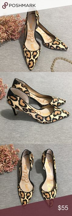 Sam Edelman Onyx Cheetah Leopard Pointed Heels These gorgeous heels are perfect to add zing to your everyday wardrobe! Real calf hair dyed with animal print and black textured accents make these an equal mix of classy and rock and roll! Great condition, the only visible flaw is a small spot where the fur was worn off on the toe, as pictured! The bottom soles do show some where but have plenty of life left! Sam Edelman Shoes Heels
