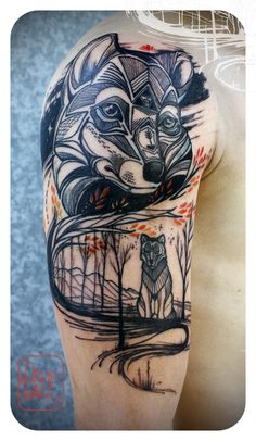 David Hale, Owner/Lead Tattooist of Love Hawk Tattoo Studio in Athens, GA Wolf Tattoos, Tattoos Arm Mann, Tattoos Skull, Fox Tattoo, Arm Tattoos For Guys, Trendy Tattoos, Animal Tattoos, Body Art Tattoos, Sleeve Tattoos