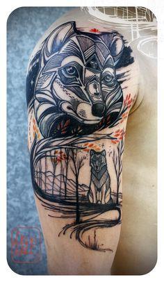 Love Hawk Tattoo Studio, fox, wolf, wild, tattoo, wind, tree, body art