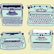 Typewriters Blue Yellow - curious_nook - Spoonflower