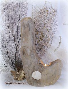 2 bougeoirs en bois flotte a poser - déco nature avec galets dream ...