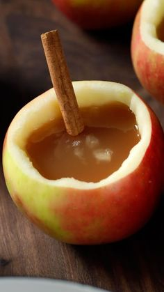 Warm yourself from the inside out with the flavors of apple cider, cinnamon spice and bourbon, all in an apple cup.