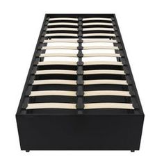 Dorel Home Products Maven Platform Bed with Storage - Black Faux Leather - Twin