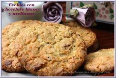 Cookies con chocolate blanco y avellanas (sin huevo)