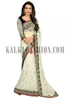 Karishma Kapoor saree in white with thread embroidery all over