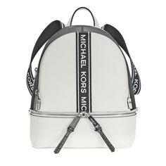 616effbae9b028 US $212.66-Michael Kors Rhea Medium Pebbled Leather Backpack - Optic White  / Black