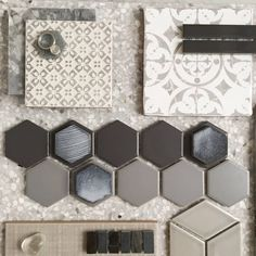 H E X Gorgeous layers of mosaics in the warmest of greys layered up with some porcelain sets and Terrazzo. Gotta say we love watching our designers create magic with our tiles. This one styled by Home Design, Küchen Design, Design Styles, Interior Design Boards, Design Palette, Modular Homes, Bath Remodel, Home Remodeling, Sweet Home