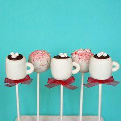6 Peppermint Mocha Mug Cake Pops Set for Winter party favors, Ch
