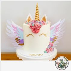 "Cards, Cake Toppers & Confetti on Instagram: ""Repost from @cakesatnumber5! An awesome unicorn cake with @oneofahandmadekind unicorn wings! They will be available soon in the etsy store!…"""