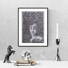 Pencil drawing woman face, housewarming gift for friend, Surreal art print, trippy art, printable wall art Frame It, Surreal Art, Woman Face, Printable Wall Art, Trippy, Art For Sale, Pencil Drawings, Surrealism, Printables