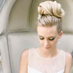 Top Knot by Julie Flury: Jewel Hair Design See more here: http://www.stylemepretty.com/maryland-weddings/2015/09/08/elegant-romantic-editorial-shoot-at-strong-mansion/